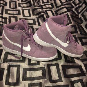 Lavender Suede Nike Dunks